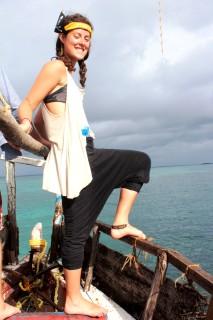 Emily aboard Barden, GVI's boat