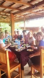 Enjoying a Lao style lunch