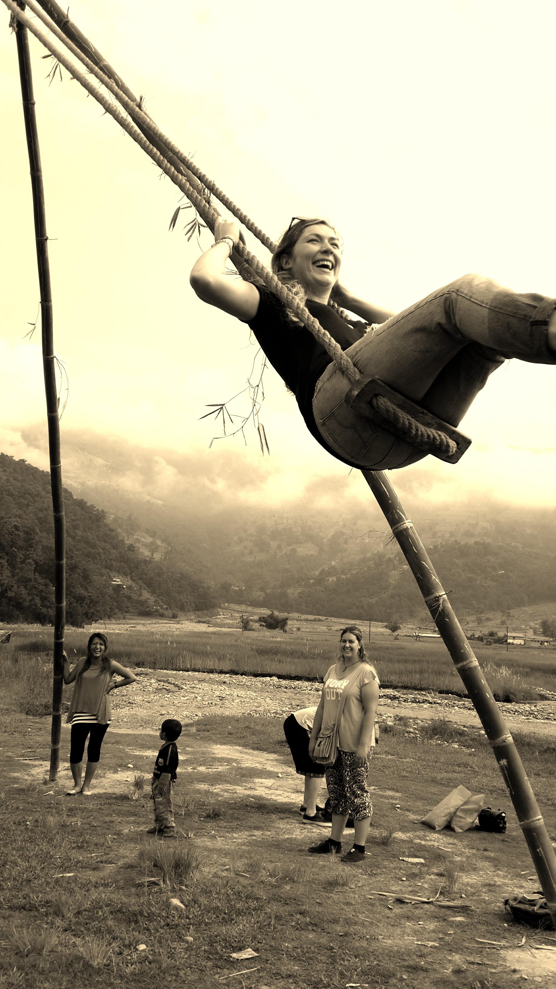 Meg on the swing