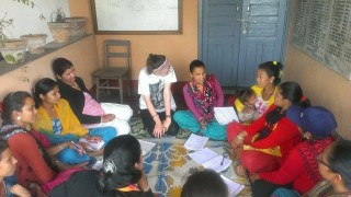 Katy teaching at Male Patan