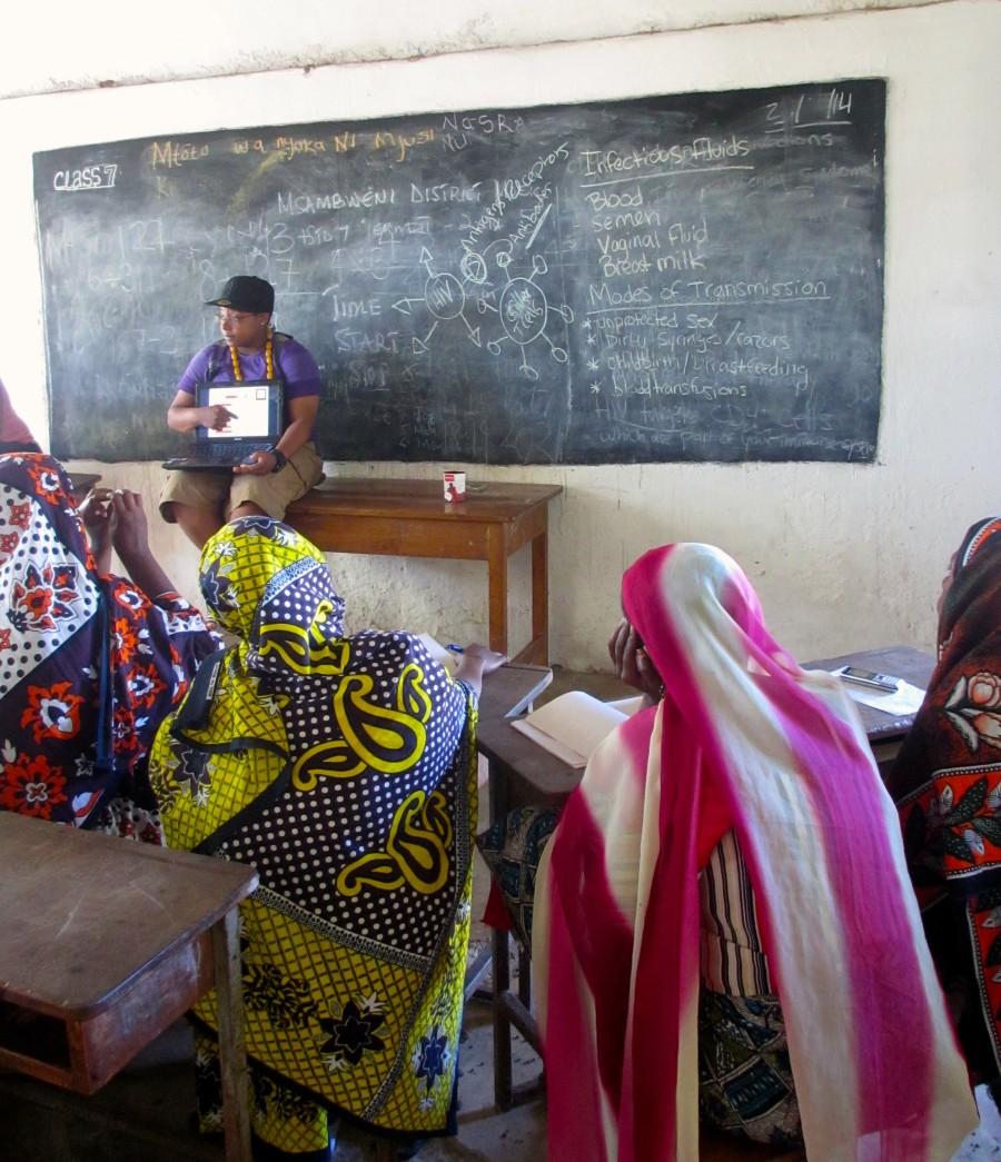 T. Jibri Douglas facilitating a workshop on HIV for the CHWs in Mkwiro island