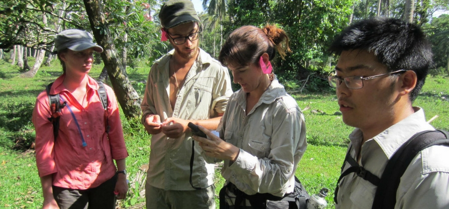 Conservation team in Costa Rican rainforest