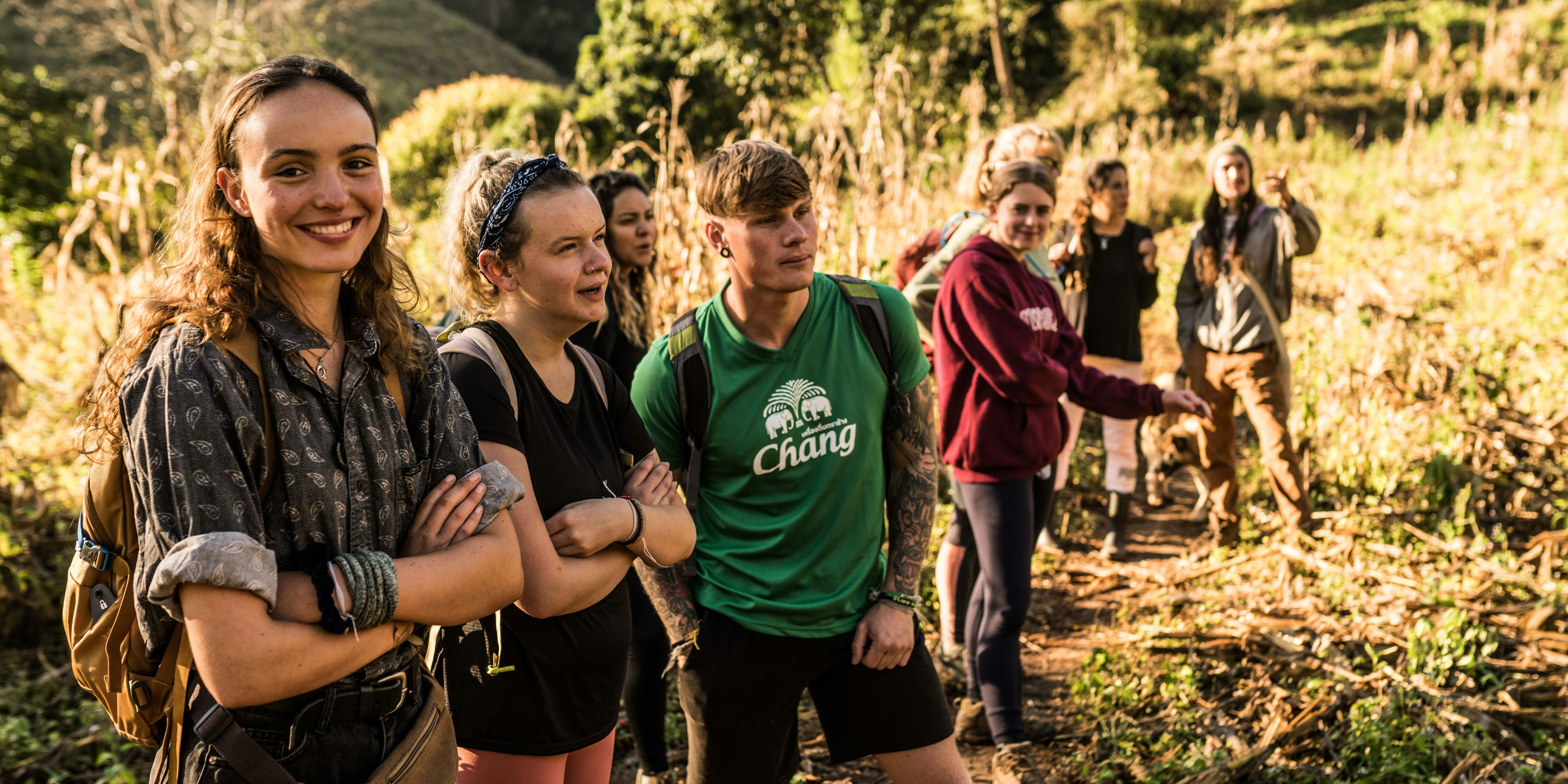 GVI participants complete an elephant hike in Chiang Mai. Chiang Mai is the perfect solution for graduates looking for gap year adventure travel.