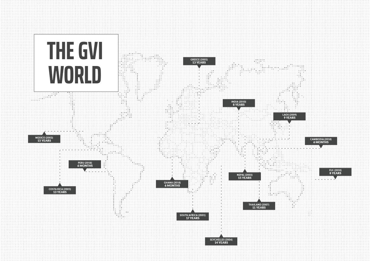Why do I have to pay to volunteer abroad? Your program fees ensure project sustainability. Pictured: The GVI world in years - a map of the world indicated how long GVI has spent contributing to locally-led development programs.