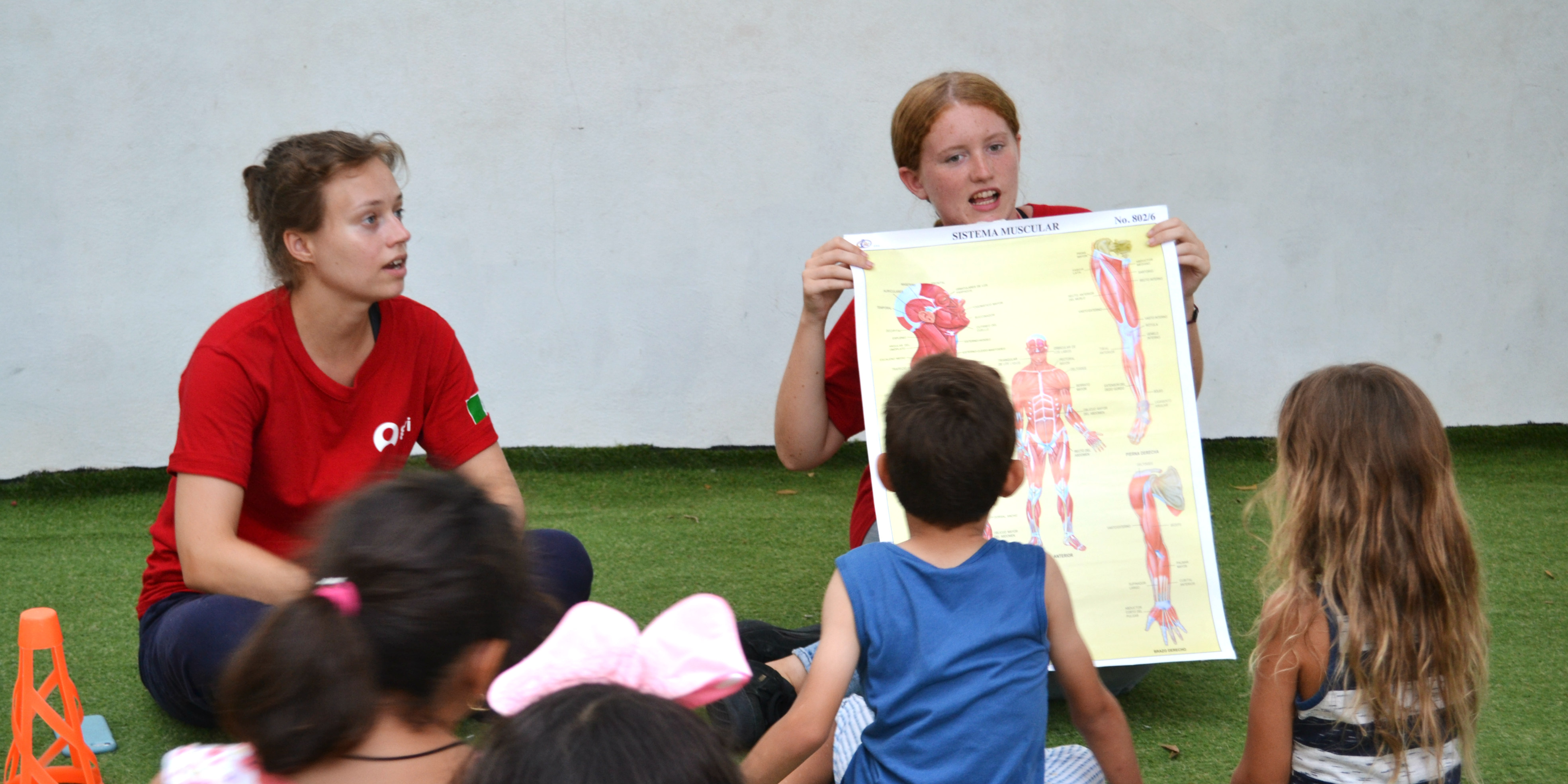 A GVI participant leads a lesson on the different parts of the body while volunteering with children in Mexico.