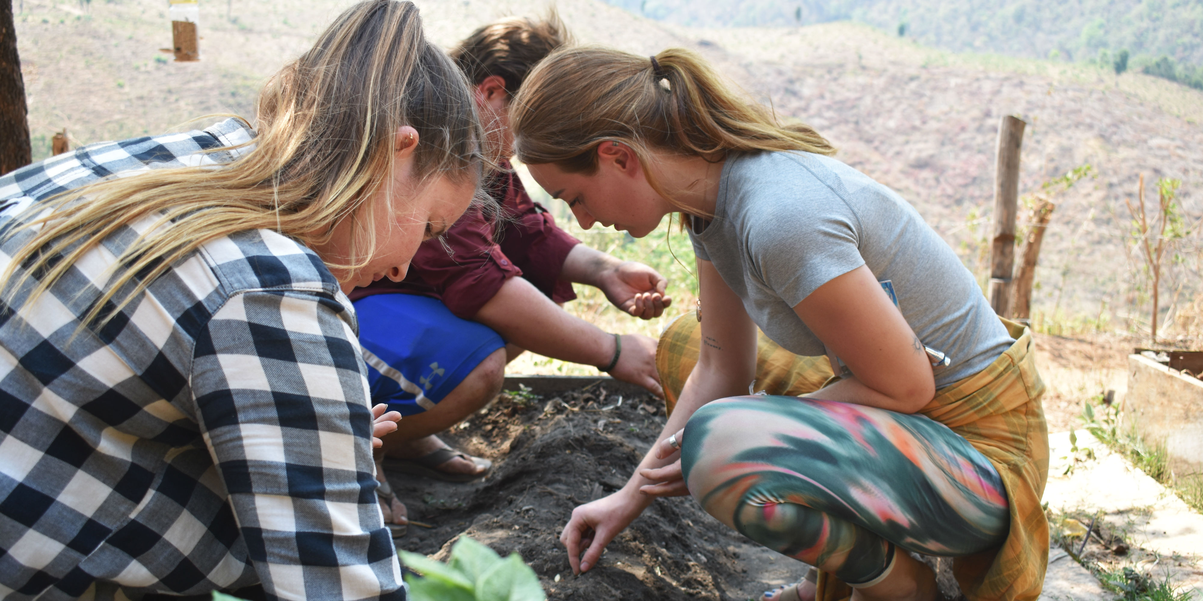 GVI participants work on seeding a food garden in Chiang Mai. Teen volunteers could create food gardens of their own.