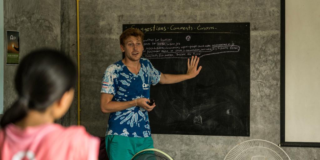 This GVI volunteer completes his leadership training program presentation