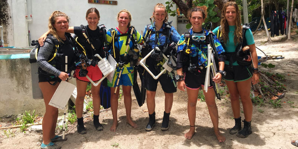 GVI volunteers get ready for a dive into the ocean, during their sea turtle conservation program