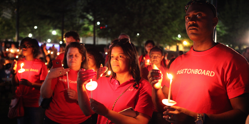 A moment of silence for the survivors of human trafficking.