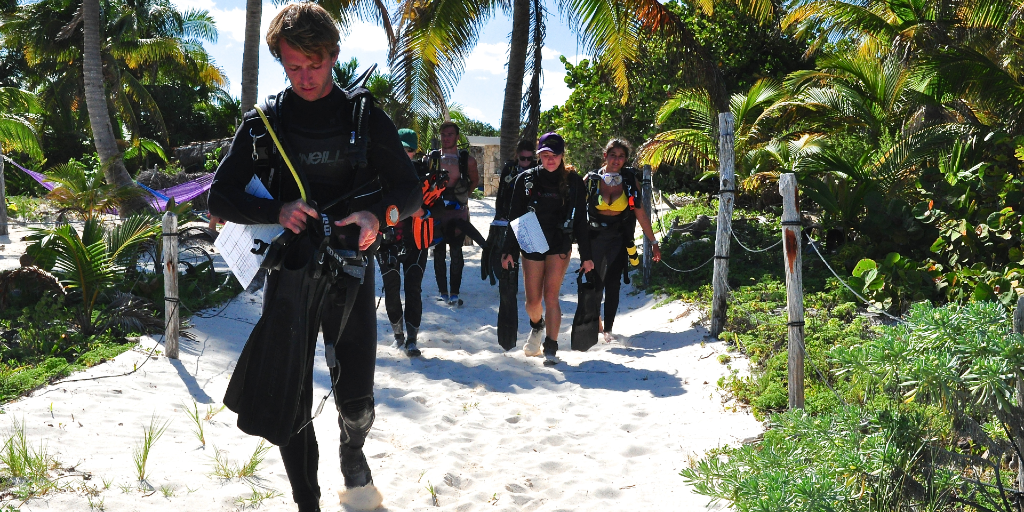 GVI volunteers making their way to the beach for their scuba dive training.