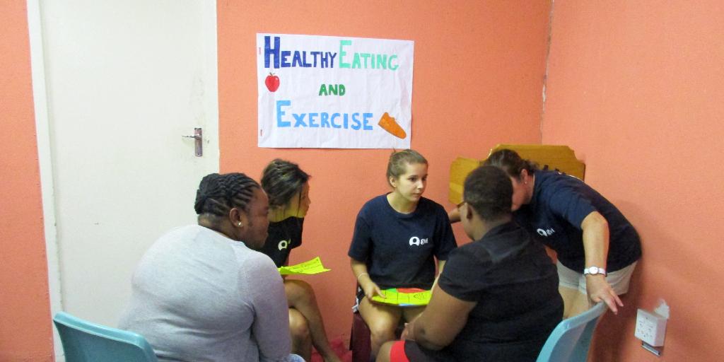 GVI participants lead a public health session while on a gap year program.